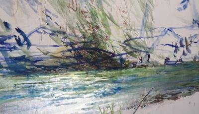 """Bildausschnitt: """"Flusslandschaft, gelbe Blume an der Gail"""" Öl auf Leinen, 170 x 280 cm,  (in Arbeit)"""